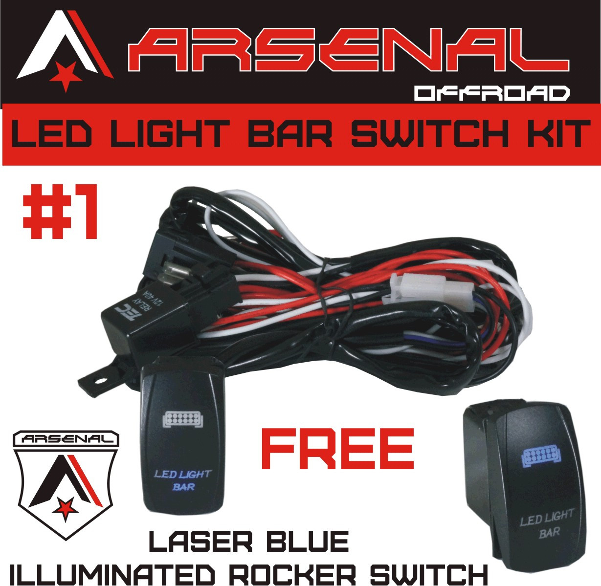 arsenal offroad tm 40 amp relay 30amp fuse laser blue led light bar spst on off rocker switch wiring harness kits great for utv suv off road boats jeeps  [ 1229 x 1199 Pixel ]