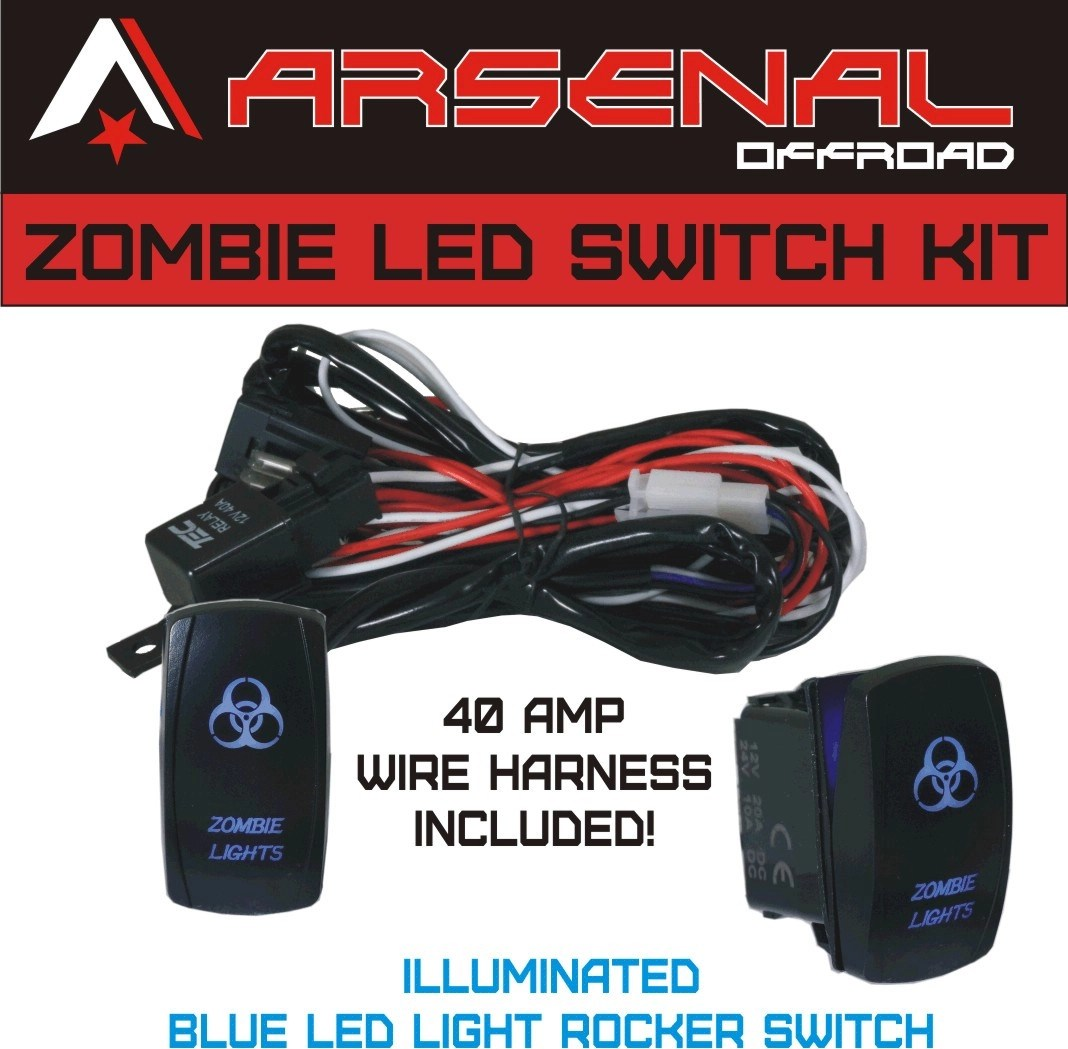 small resolution of zombie rocker switch kit by arsenal offroad tm 40 amp relay 30amp fuse laser blue led spst on off rocker switch wiring harness kits great for utv suv