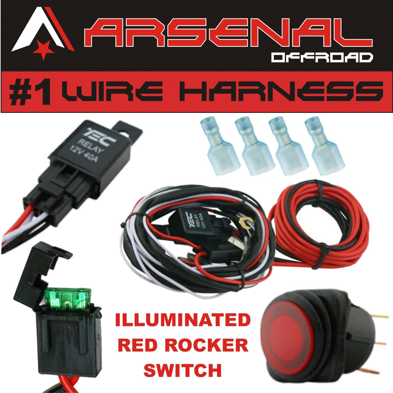 1 40 amp universal wiring harness comes with 40 relay illuminated on off rocker switch for offroad led light bars and work lights jeep atv utv truck  [ 1280 x 1280 Pixel ]