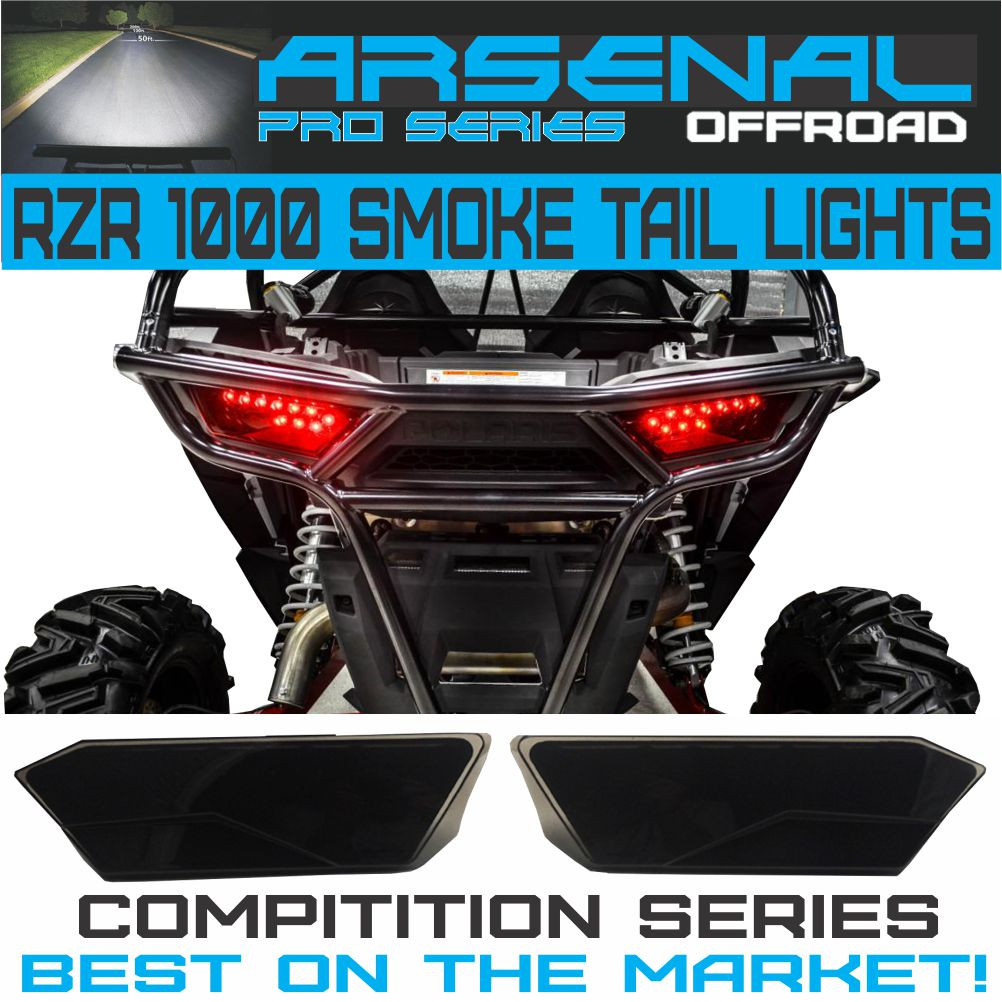 1 polaris rzr smoked led tail lights by arsenal rear tail lamp replacement for polaris 2014 2017 rzr 1000 900 xp 4 turbo 1 pair best on the market  [ 1002 x 1002 Pixel ]