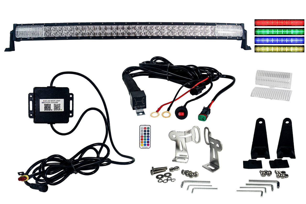 rgb series 40 oz usa double row dimmable led light bar cross style drl variable rgb bluetooth functions combo beam anti theft hardware off road 4wd atv  [ 1280 x 857 Pixel ]