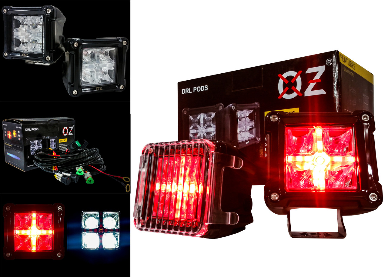 hight resolution of drl pod 3 rear 20w led light white spot beam red drl cube reverse back up light with wiring harness and dual switch for off road motorcycle jeep atv suv