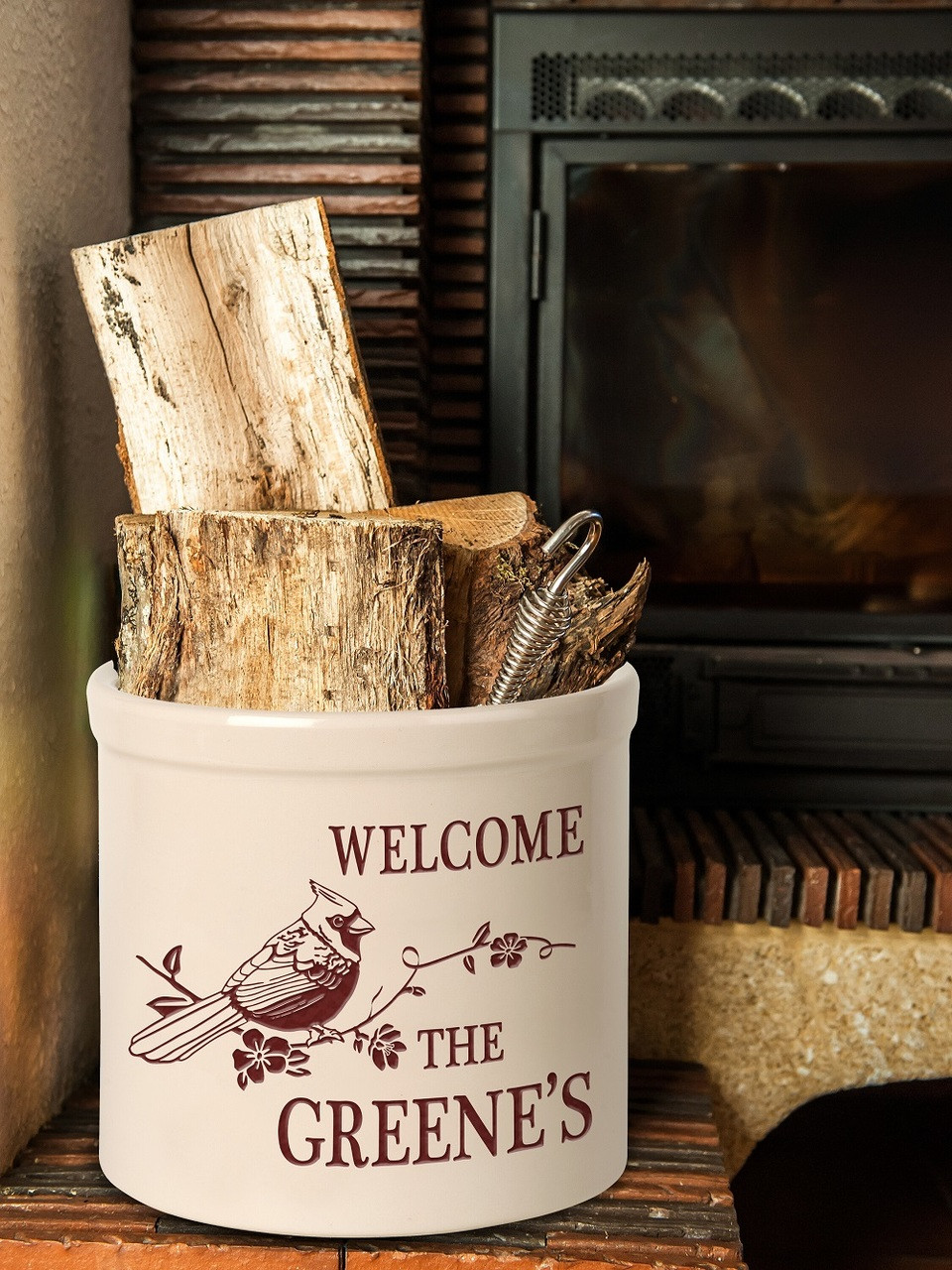 personalized welcome cardinal stoneware
