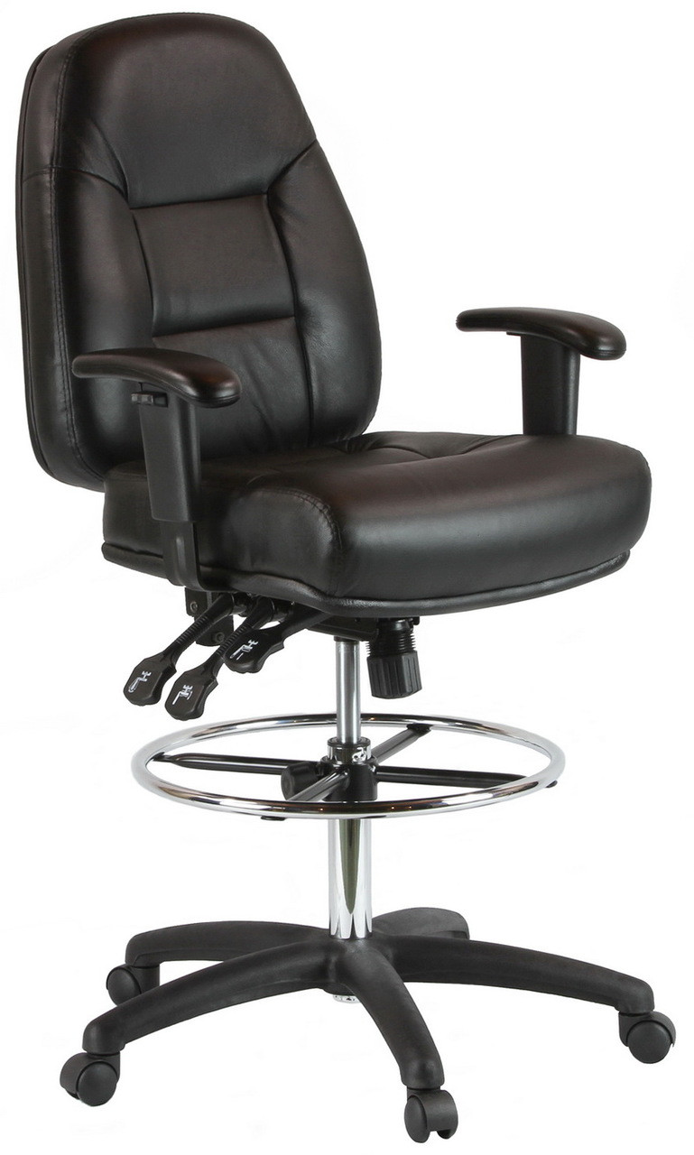 drafting office chair best shower for elderly harwick adjustable leather 100kl with arms