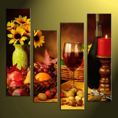 Artwork For Kitchen Chip Cabinets 4 Piece Colorful Canvas Wine Home Decor Wall Art Multi Panel