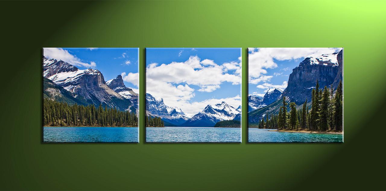 piece blue landscape canvas mountain artwork