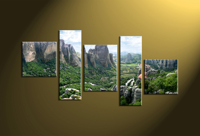 5 Piece Canvas Green Landscape Forest Multi Panel Art