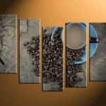 5 Piece Brown Canvas Coffee Kitchen Decor