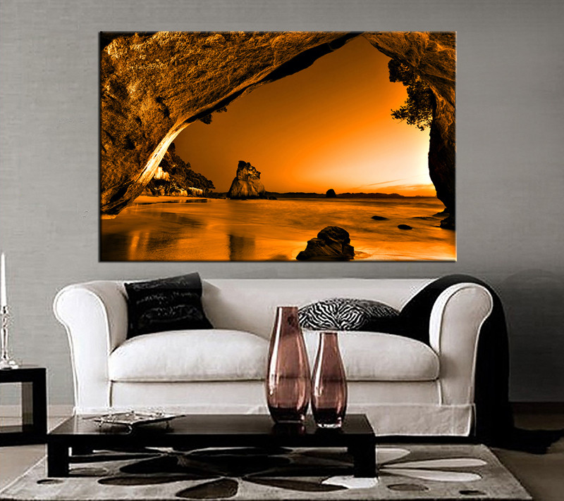 large canvas art for living room interior design with balcony 1 piece ocean orange huge wall mountain decor brown artwork