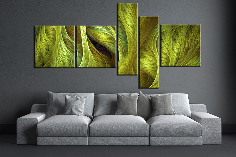 contemporary artwork living room interior design modern small 5 piece green multi panel canvas large pictures art photo