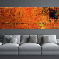 Best Artwork For Living Room Simple False Ceiling Designs India 1 Piece Orange Wall Art Abstract Canvas Print Multi Panel