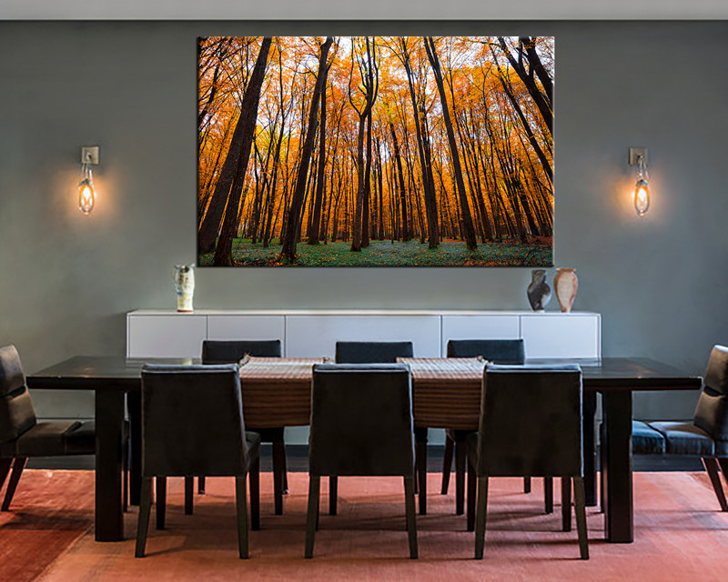 1 Piece Orange Scenery Autumn Trees Wall Decor