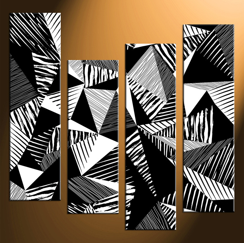 4 piece abstract black