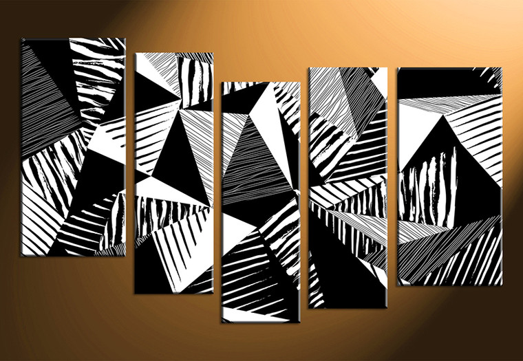 5 piece abstract black