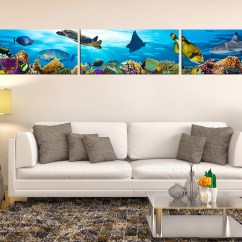 Canvas Prints For Living Room Decorating Ideas Colours 3 Piece Art Fish Multi Panel Blue Photo Photography Wall Decor Turtle