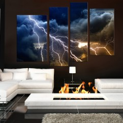 Contemporary Artwork Living Room Decor Walls 4 Piece Multi Panel Art Thunderstorm Canvas Prints Blue Huge Photo Photography Large Pictures