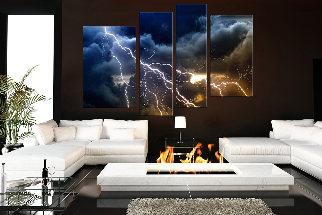 modern artwork for living room decorations tables 4 piece multi panel art thunderstorm canvas prints blue huge photo photography large pictures