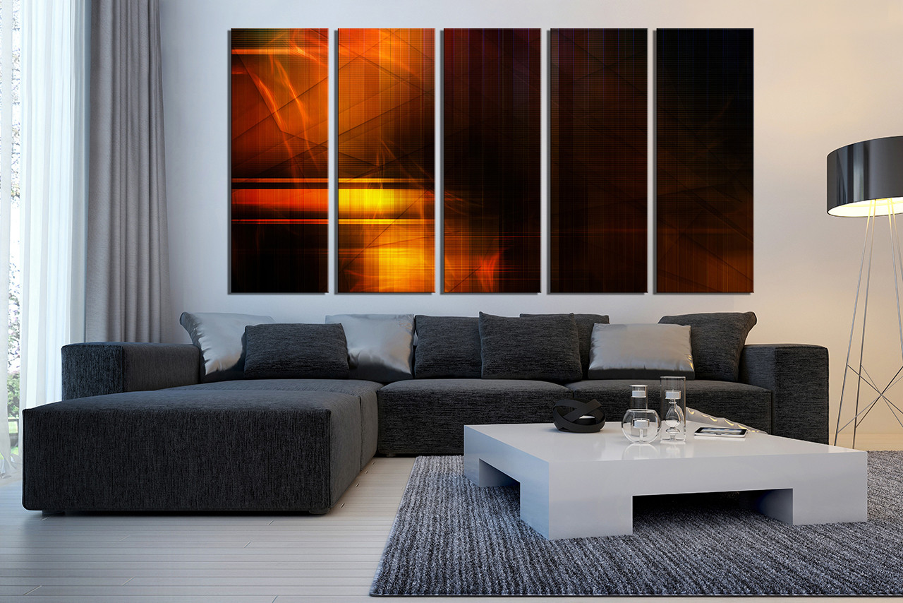 large canvas art for living room yellow and white curtains 5 piece abstract wall orange multi panel photography modern artwork