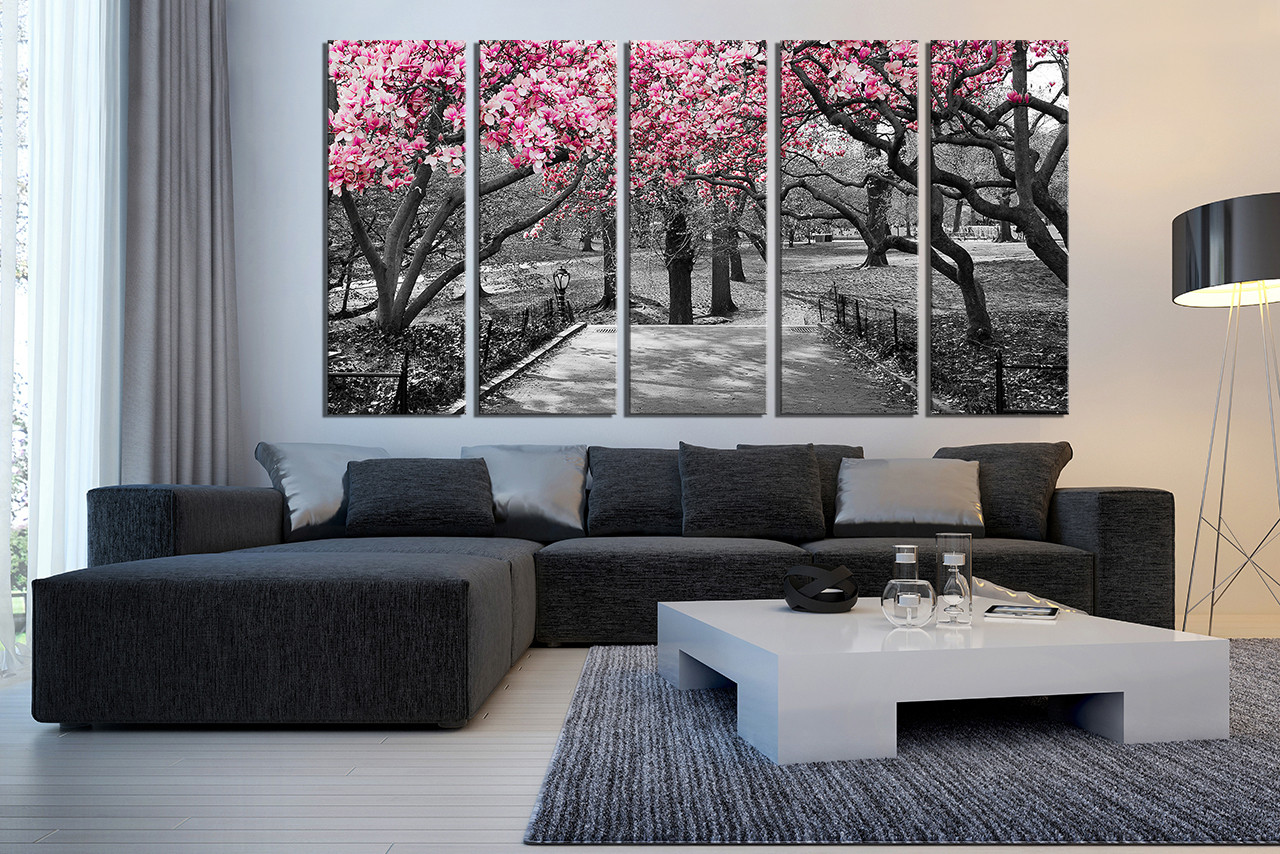 5 Piece Canvas Wall Art Grey Huge Print Scenery