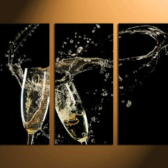 Artwork For Kitchen Small Table Sets 3 Piece Huge Canvas Print Champagne Photography Wall Art Home Decor Multi Panel Work