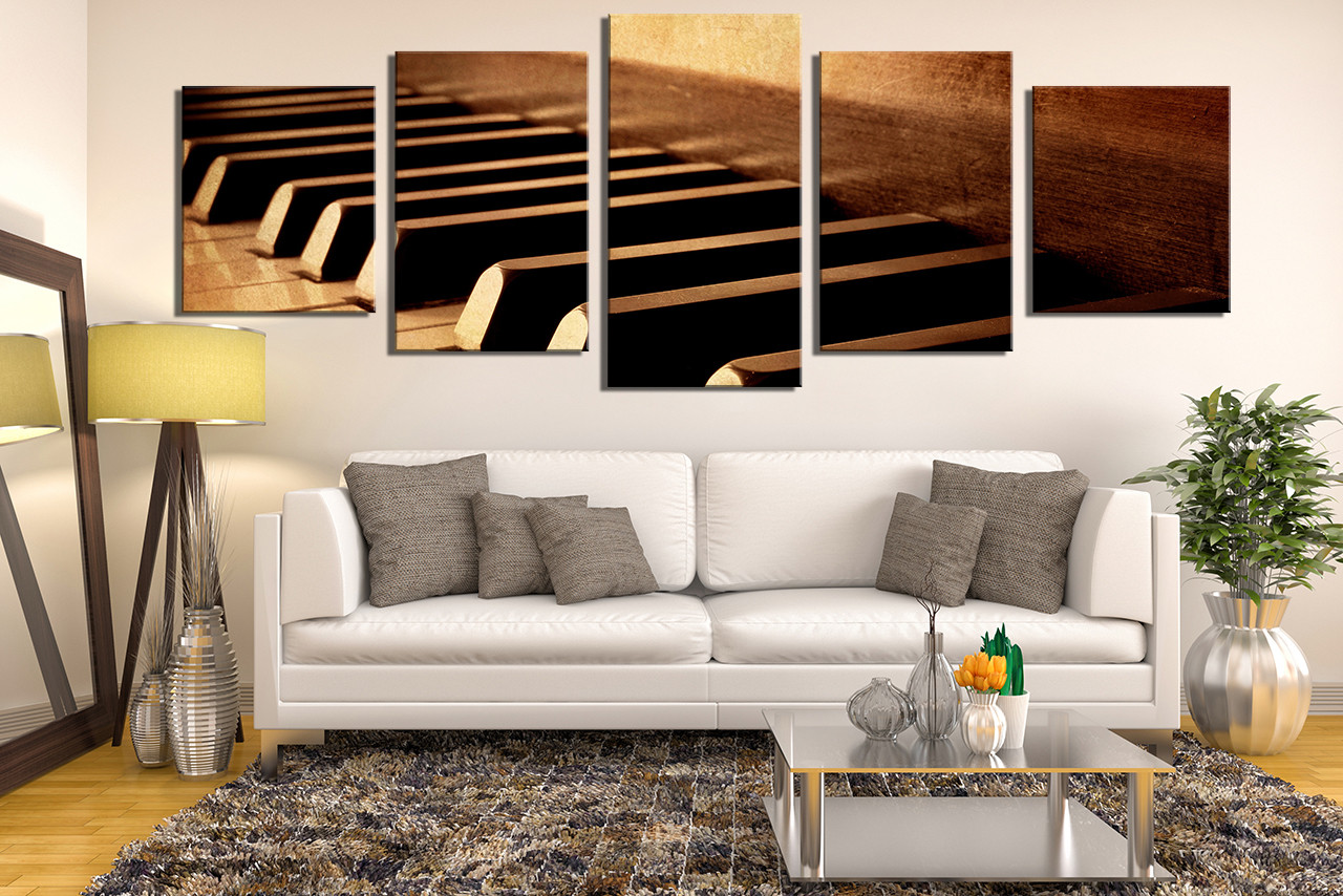 canvas prints for living room decorating ideas with wood floors 5 piece large panoramic artwork music art wall grand piano multi panel