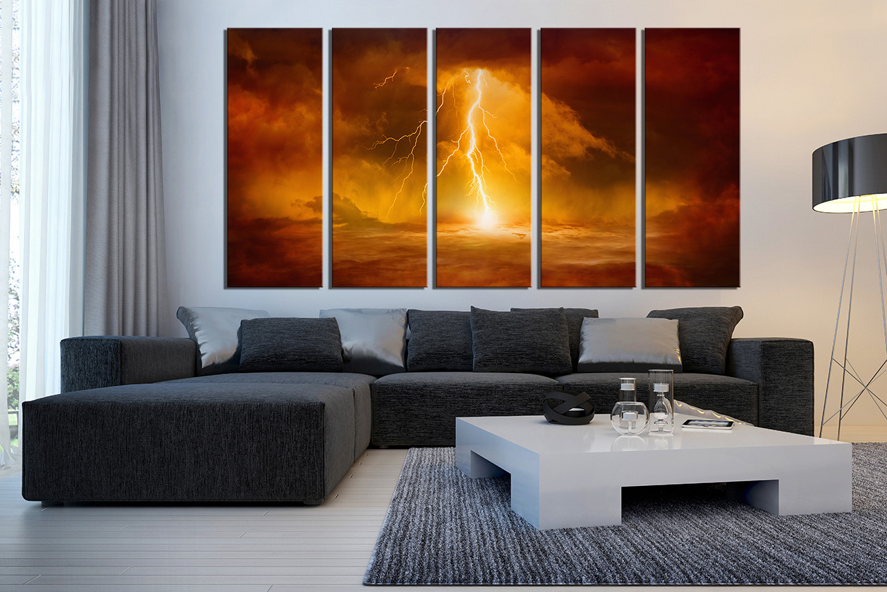 modern artwork for living room large wall stickers india 5 piece huge canvas print abstract art prints orange oil photo decor