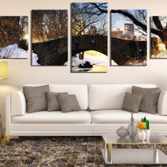 Large Canvas Art For Living Room Kids 5 Piece Artwork Scenery Multi Panel Snow Pictures Print Tree Huge