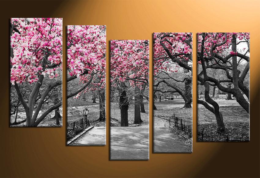 5 Piece Multi Panel Art, Grey Large Pictures, Autumn Trees