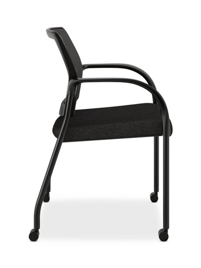 hon ignition fabric chair ikea kitchen table and chairs multi purpose stacking mesh back with casters in black side view