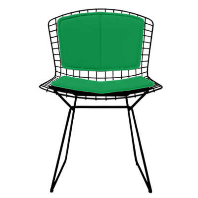 bertoia side chair cover for mid century modern knoll knollstudio with lime vinyl back and seat pad blue powder coat frame