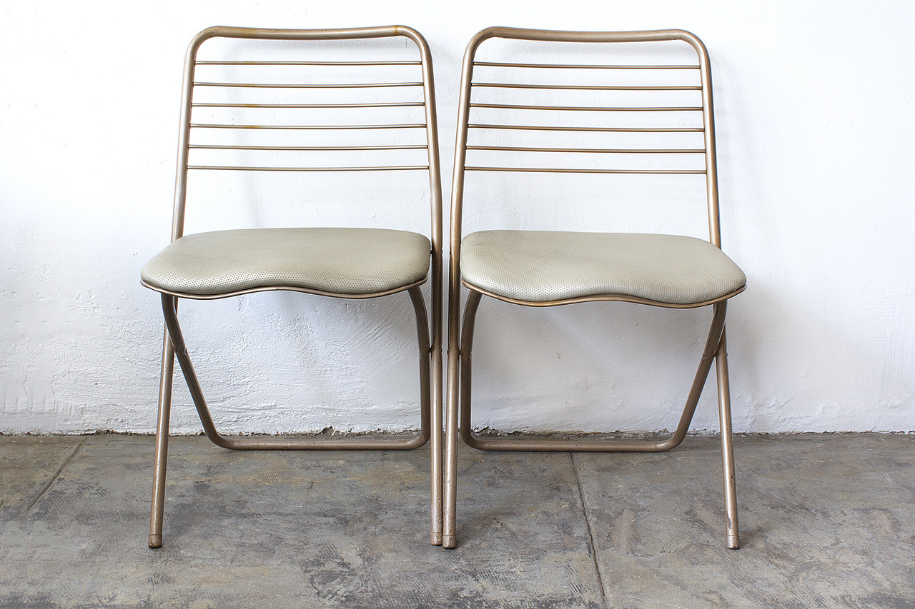 Cosco Folding Chair Sold Pair Of 1950s Folding Chairs By Cosco Reupholstered
