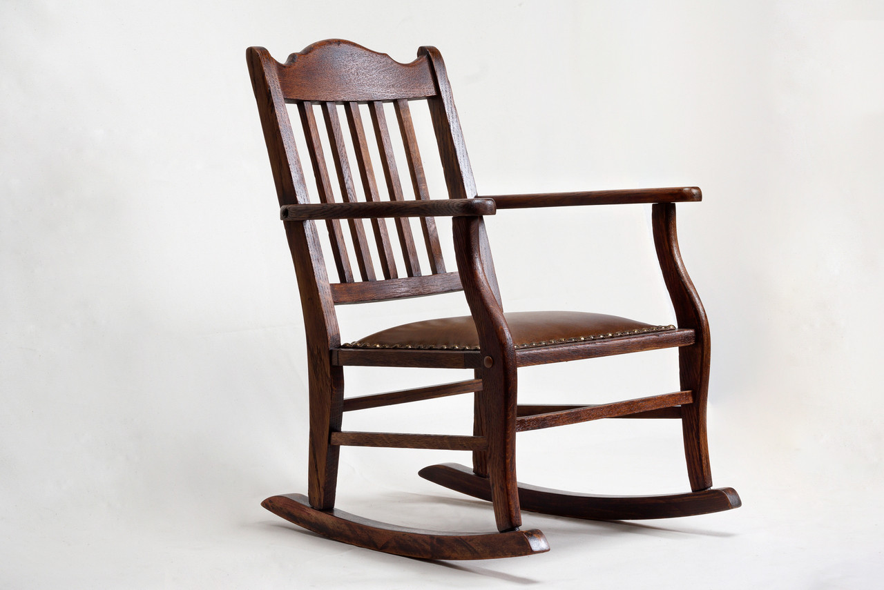 Leather Rocking Chair Sold American Craftsman Child S Rocking Chair Antique Oak And Leather