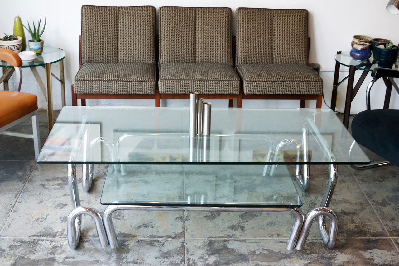 Sold Chrome And Glass Coffee Table 1960s
