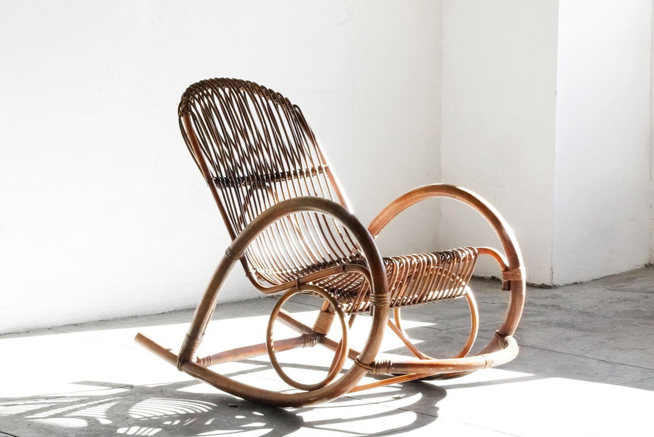 Vintage Rattan Chair Sold Mid Century Modern Rattan Rocking Chair By Franco Albini