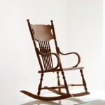 Sold Antique Child S Rocking Chair With Hand Tooled Leather Seat Rehab Vintage Interiors