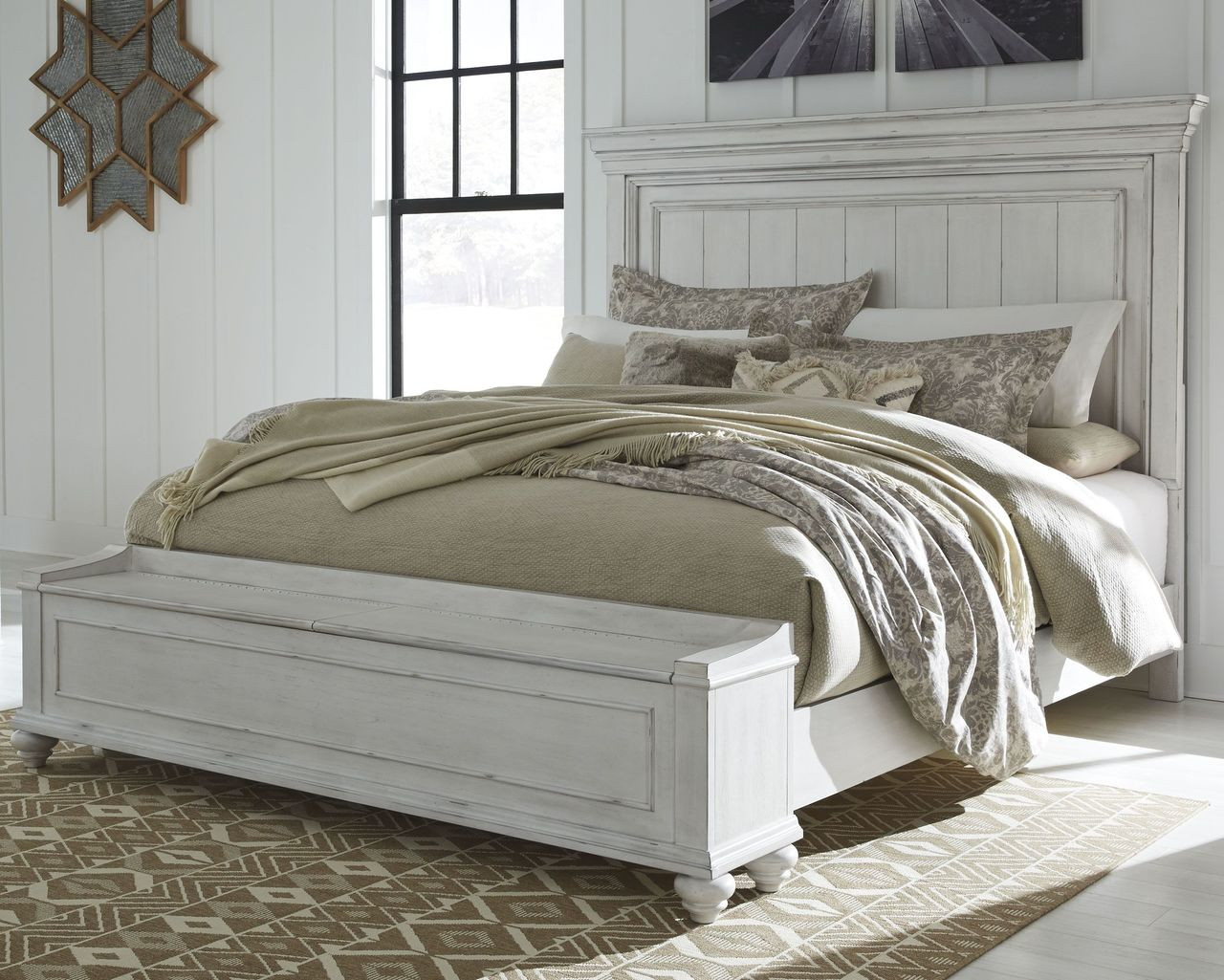 The Kanwyn Whitewash King Panel Upholstered Bed With Storage Sold At Outten Brothers Of Salisbury Serving Salisbury Maryland And Surrounding Areas