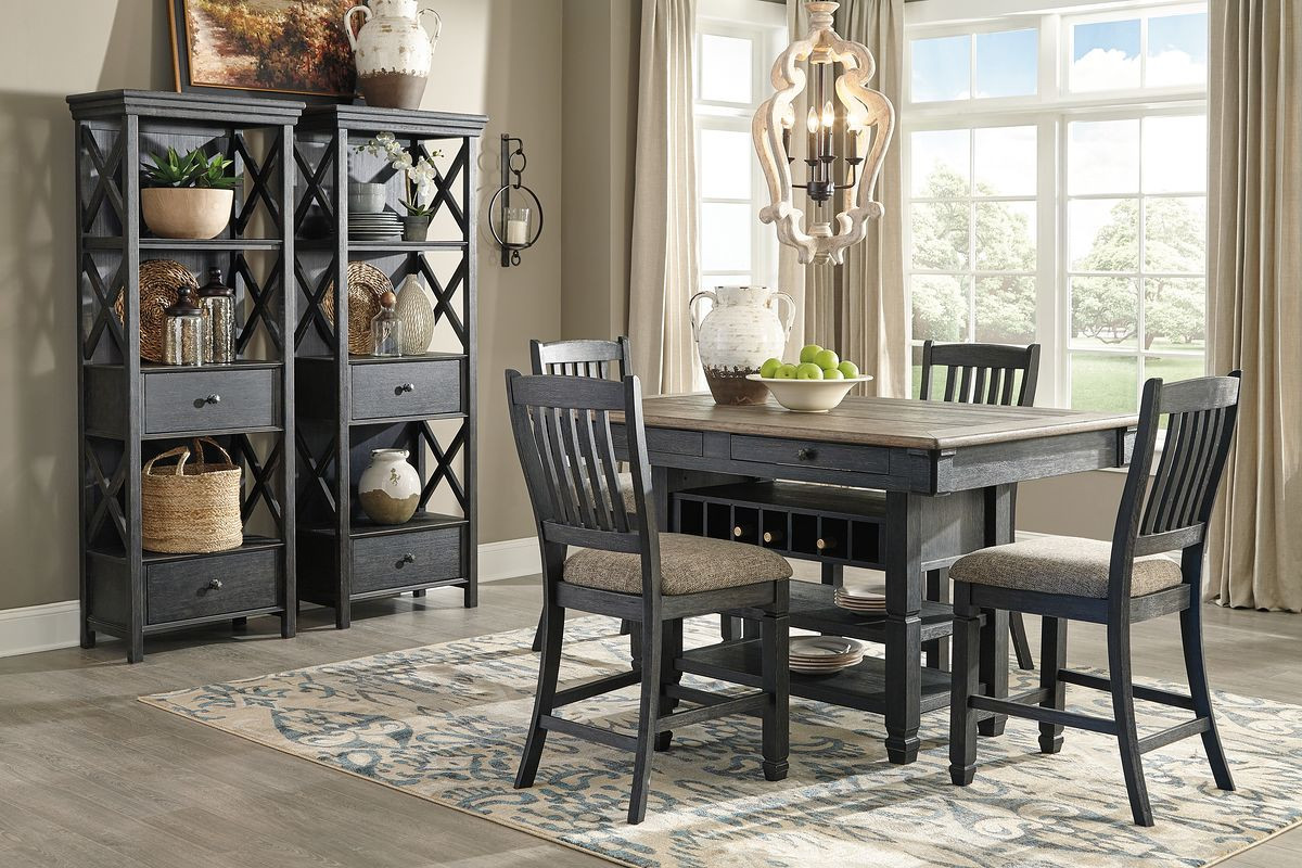 The Tyler Creek Black Gray 7 Pc Rectangular Counter Height Dining Set Sold At Outten Brothers Of Salisbury Serving Salisbury Maryland And Surrounding Areas