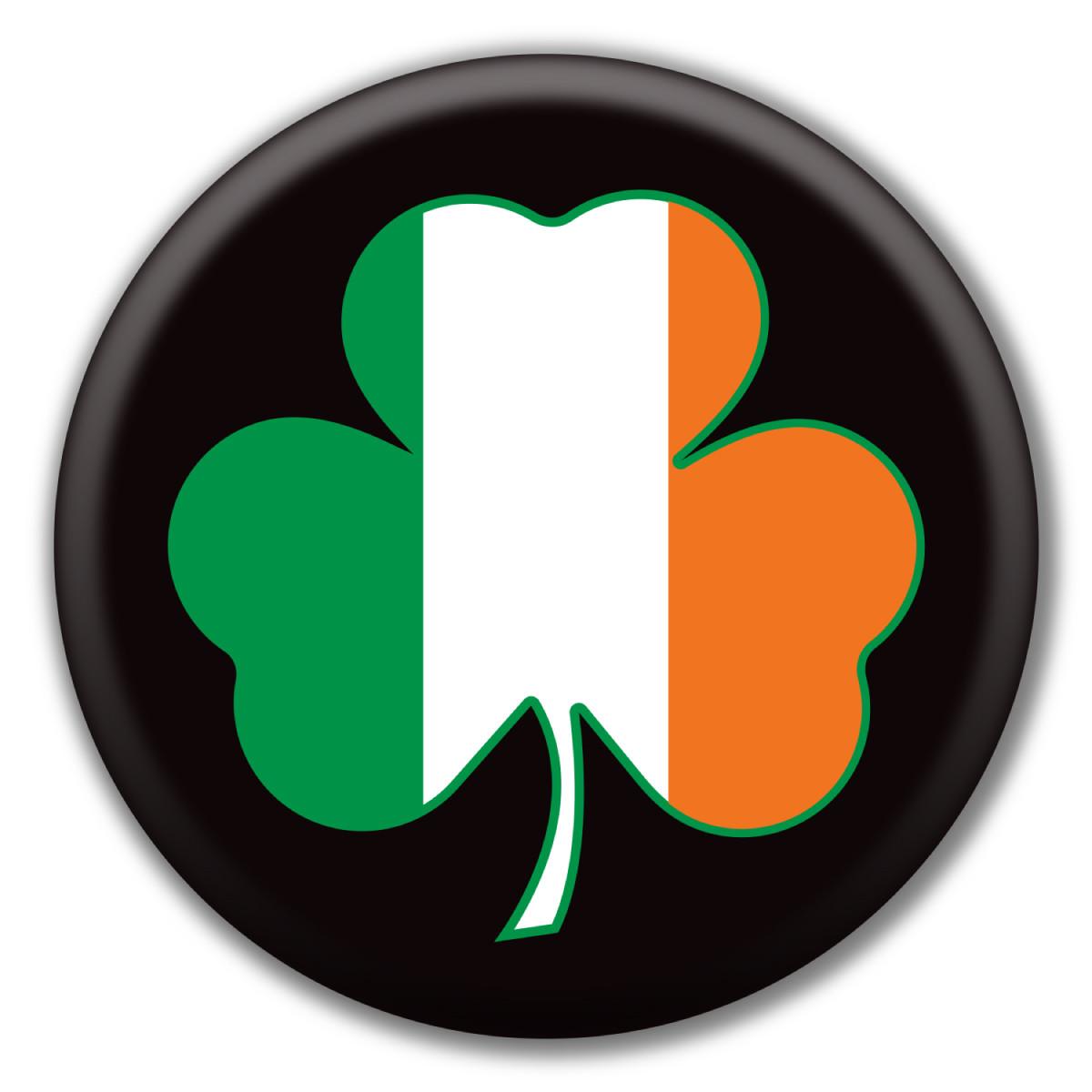 Shamrock Irish Flag Circle Button Magnet America
