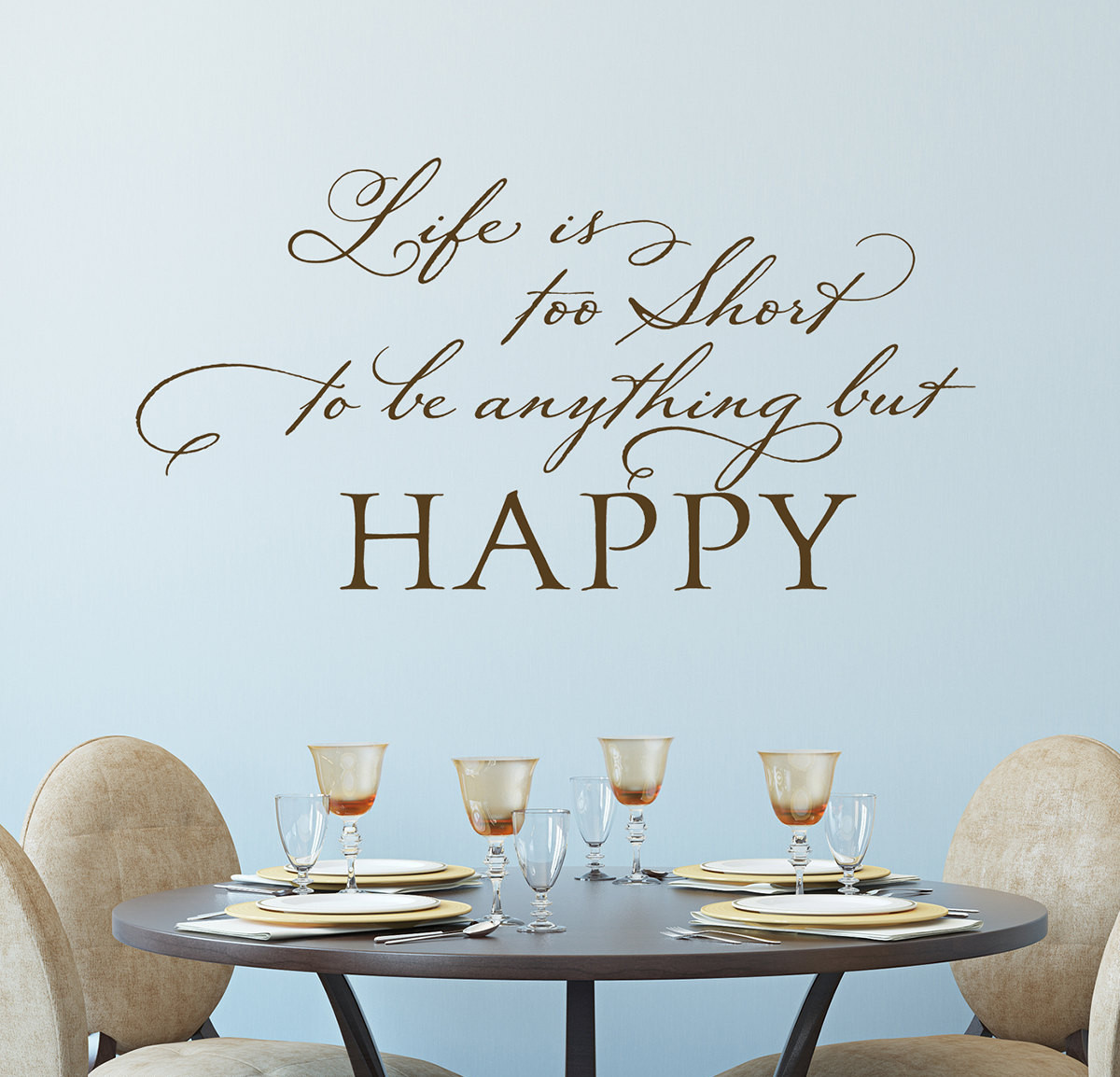 Happy Life Quotes Motivational Wall Decals Be Happy