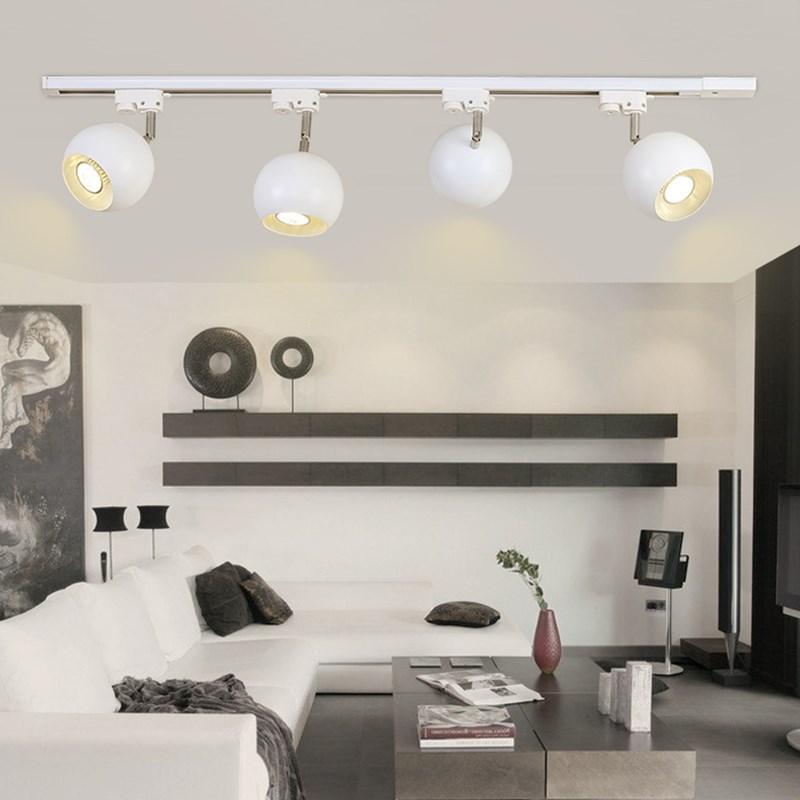 modern led track light metal ball lampshade rotatable living room