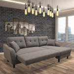Nova Fabric Right Hand Facing Sectional Sofa Bed Grey Pallucci Furniture