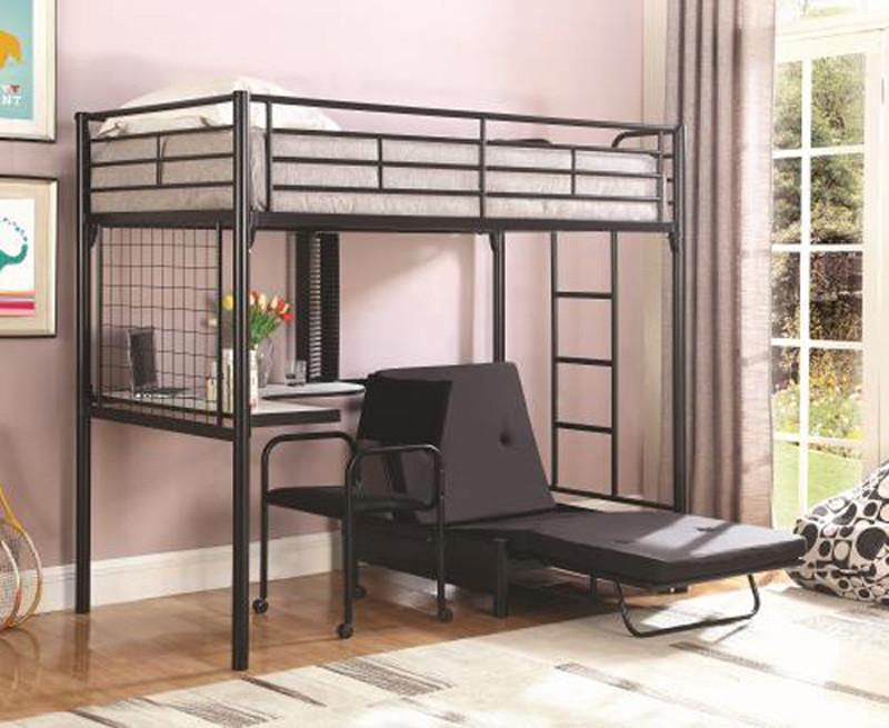 Aiden Black Twin Workstation Futon Loft Bed  Desk Futon