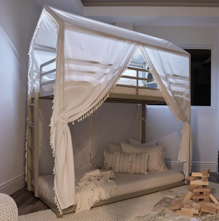 harper champagne twin canopy bunk bed