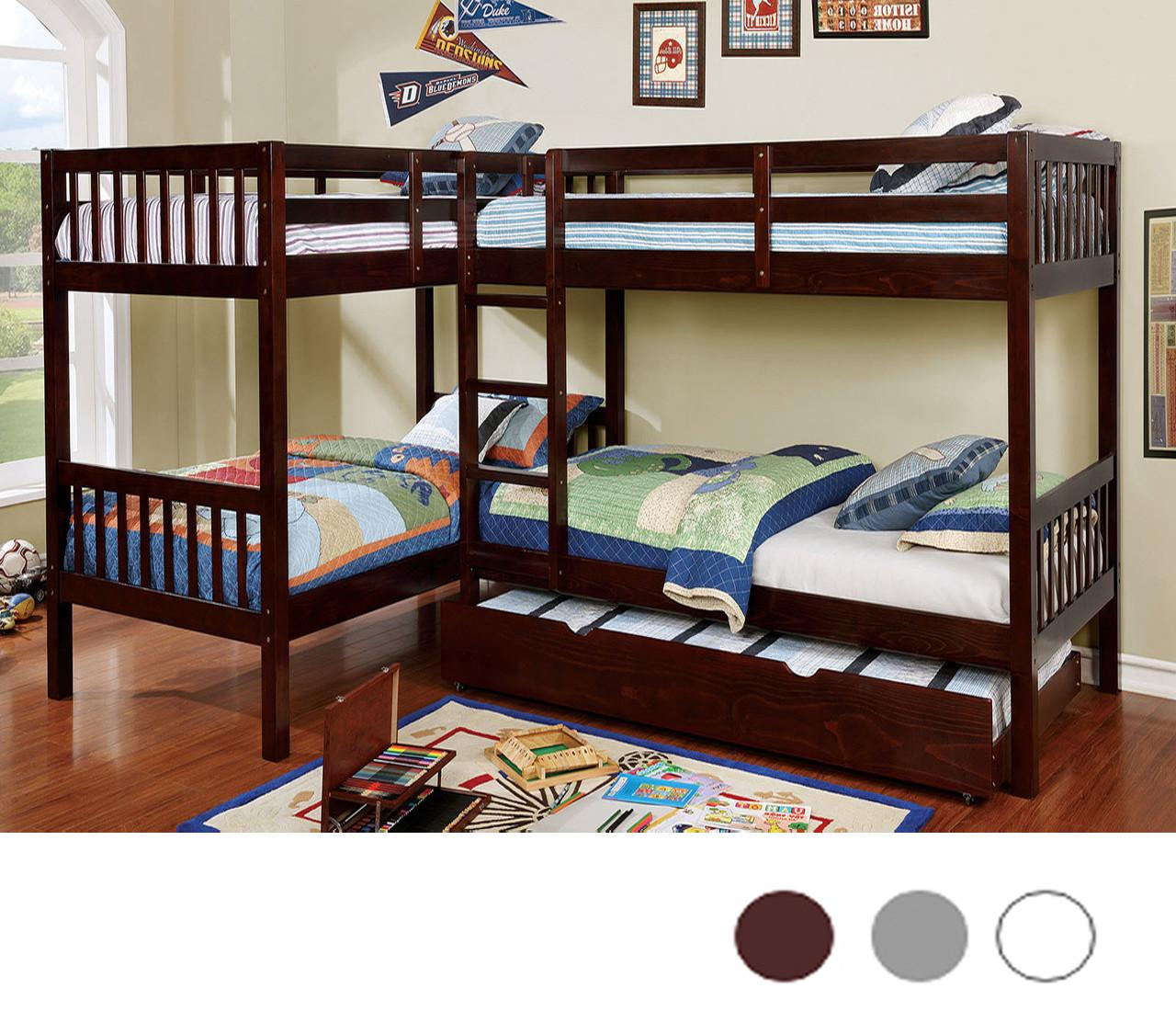 L Shaped Quadruple Twin Bunk Bed W Trundle In Dark Walnut