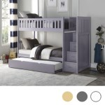 Charlton Pine Twin Over Twin Bunk Bed With Stairs Gray White