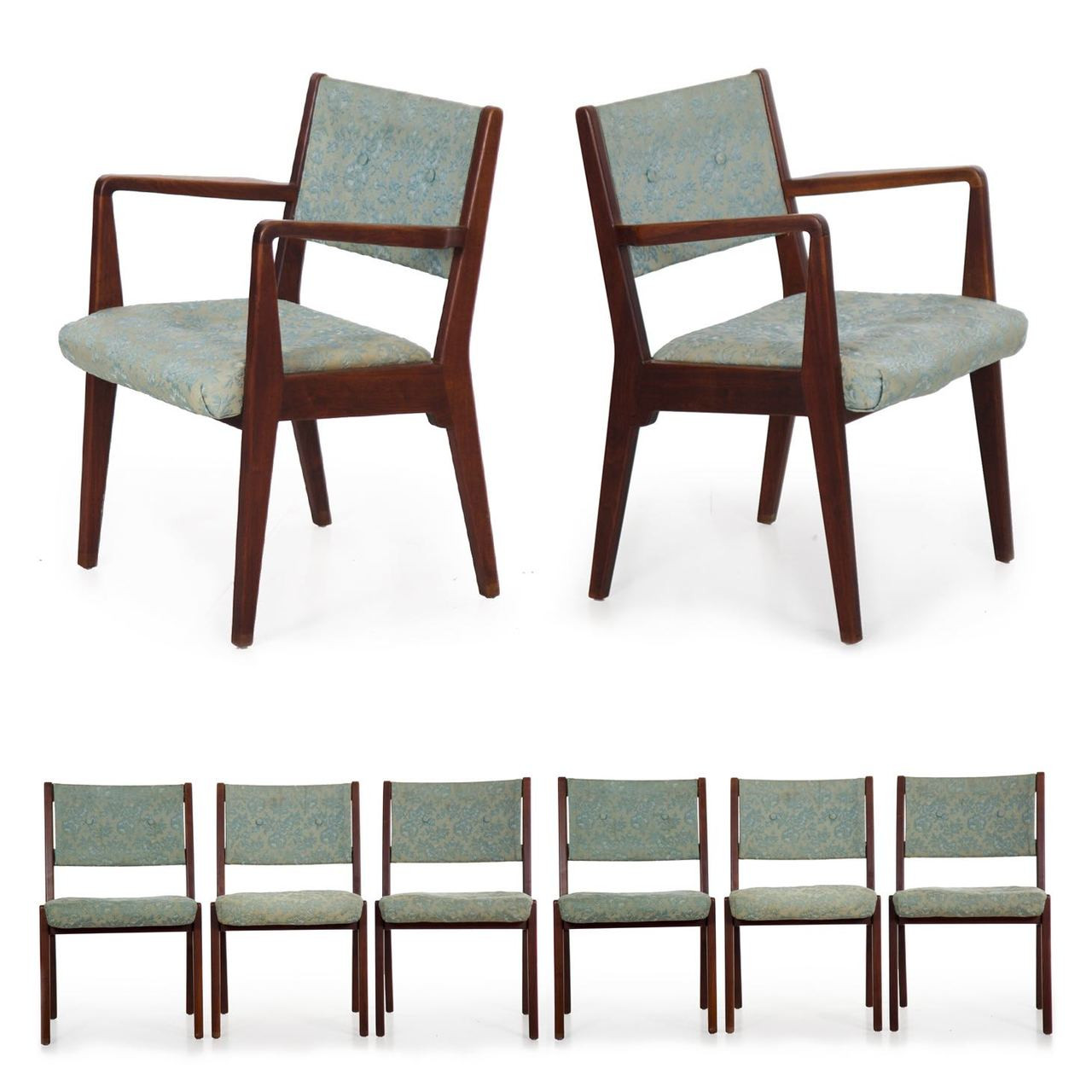 Walnut Dining Chair Set Of Eight Mid Century Modern Walnut Dining Chairs By Jens Risom