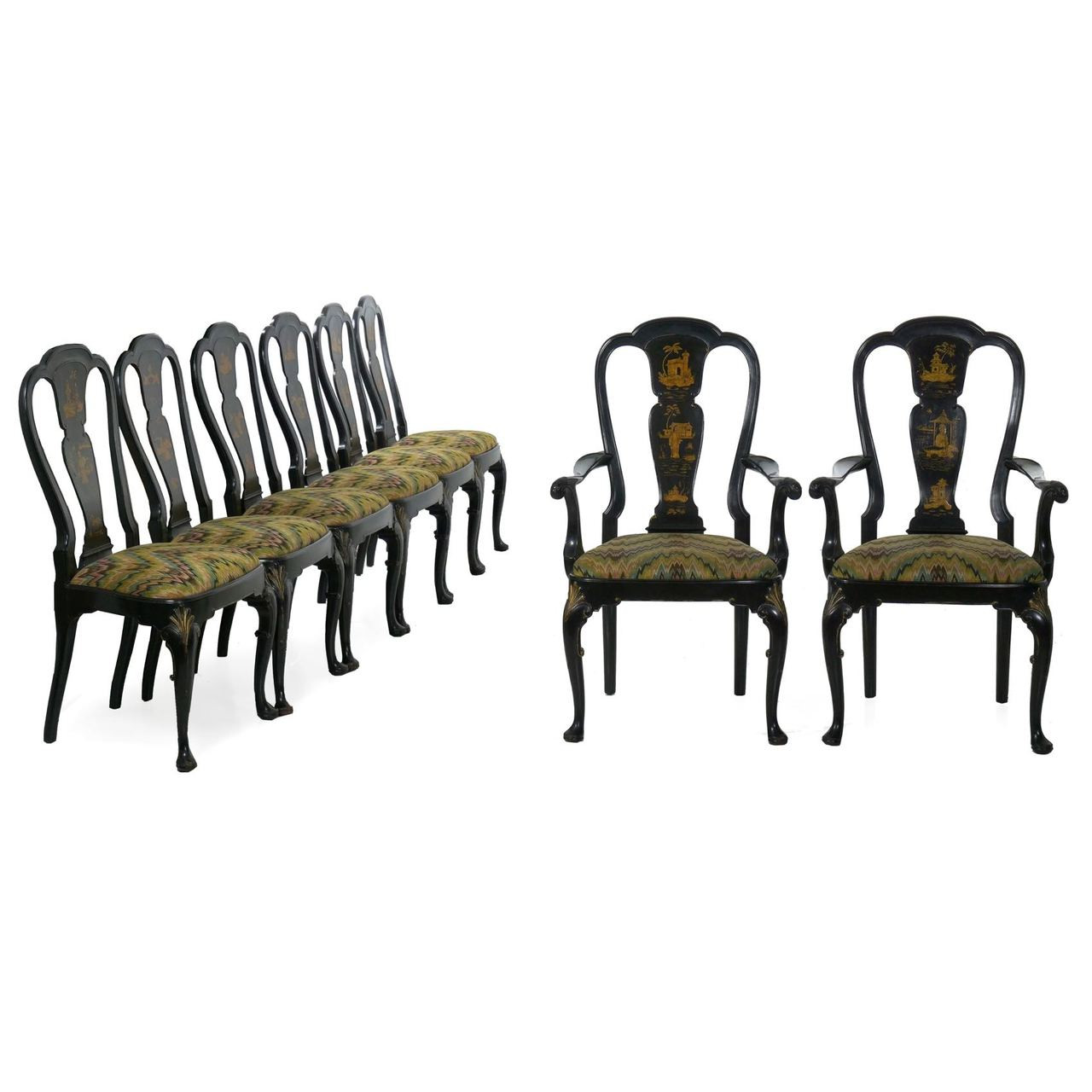 queen anne style chair desk set of eight black lacquer chinoiserie dining chairs zoom