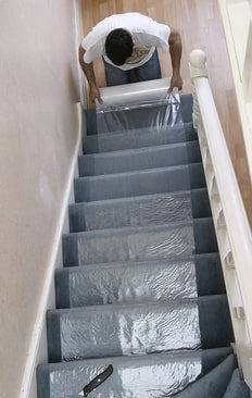 How To Protect Carpet On Stairs Trio Plus Distribution Ltd | Temporary Carpet For Stairs | Flooring | Protection | Stair Runner | Film | Magic Carpet