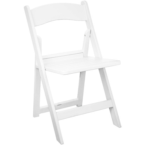 White Resin Folding Wedding Chair  Slatted Folding Chairs