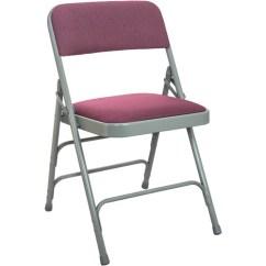 Cloth Padded Folding Chairs La Z Boy Office Chair Canada Burgundy Fabric Metal